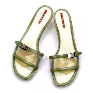Prada Open Toe Slip On Mule Sandals Size 39.5